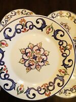 "CMG Ceramicas Portugal Blue Scroll LUNCHEON 9"" Williams Sonoma (Set of 4)~NEW!"