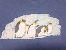 Vintage Penguins Blue Large T-Shirt Emperor South Pole Iceberg