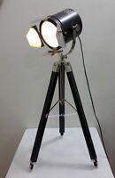 Nautical STAGE Chrome Royal Spotlight Studio Searchlight Floor Lamp WoodenTripod