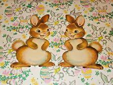"2 Vtg Easter Dennison Cardboard Decoration Die Cut Bunnys Rabbits 7"" Pair #W"