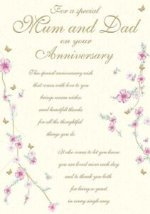 Special Mum And Dad On Your Anniversary Greeting Card - 10 x 7 Inches