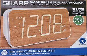 SHARP Wood Finish Dual Alarm Clock With Jumbo Time Display Electric