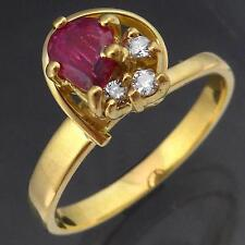 High Set Solid 18k GOLD NATURAL RUBY & 3 DIAMOND CLUSTER RING Val=$1315 Sz L1/2