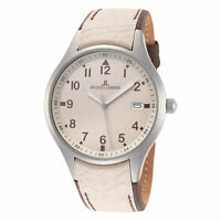 Jacques Lemans Men's Sport 40mm Beige Dial Leather Watch