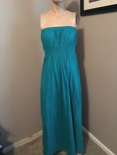 MUST SEE!!  OLD NAVY SOLID TEAL GREEN STRAPLESS ELASTIC WAIST MAXI DRESS! SZ M