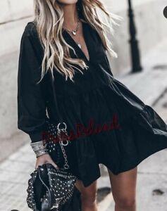 ZARA NEW VOLUMINOUS TAFFETA BLACK DRESS SIZE S