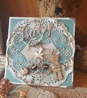 Vintage/Country handmade Baby boy card,