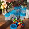 24 Plastic Party Jars Containers 1oz 30ml AQUA Caps Bottle Candy 4305 DecoJars