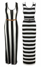 Long Sleeve Striped Dresses for Women with Belt