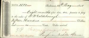 1848 Baltimore Maryland (MD) check Goldsborough and Baughman,Nicholson,and Canno
