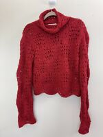 Pure DKNY Women's Boho Wool Turtleneck Red Cable Knit Sweater Size Medium