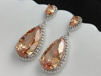 Cubic Zircon Wedding Bride champagne pear teardrop 18K GP dangle earrings A10