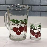 Vintage Paneled Glass Water Tea Lemonade Pitcher & Juice Glass with Cherries
