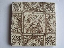 ANTIQUE VICTORIAN WALL TILE TRANSFER PRINT - ARUM LILLIES WITH BAMBOO TRELLIS
