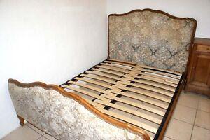 BED BASE 4 French Upholstered Double Antique BEDS - Width Adjustable Slatted