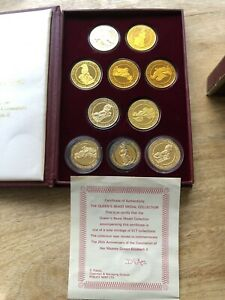 22ctGold on sterling silver Queens Beasts Medal Collection 10 medals Pobjoy Mint