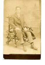 Handsome Young Man in Coat-Unusual Studio Chair-RPPC-Vintage Real Photo Postcard
