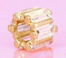 Vermeil GOLD Solid SSilver BEAD with 9pcs Checkerboard Cut Cz For Charm Bracelet