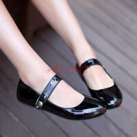 US Size 4-14 Womens Patent Leather Round Toe Ankle Strap Mary Janes Flats Shoes