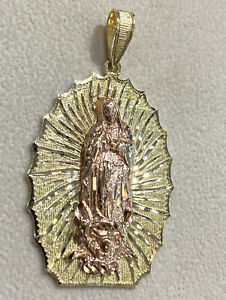 Nugget 14k Gold Catholic Virgin Mary Guadalupe Necklace Charm Pendant 9.40 Grams