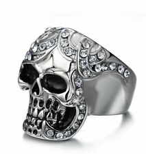 Vintage Mens Stainless Steel Skull Ring Birthday Anniversary CZ Band Size Q-y 10