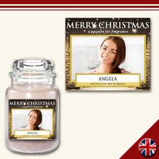 C6 Personalised Medium Custom Photo Candle Jar Label Sticker Christmas Xmas Gift