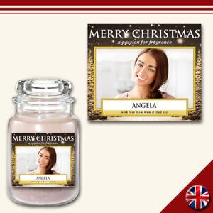 Personalised Photo Candle Label Medium Custom Sticker Christmas Fun Gift Present