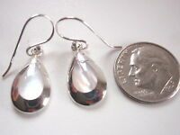 Mother of Pearl Teardrop with Silver Border 925 Sterling Silver Dangle Earrings