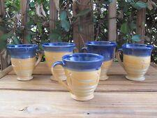 Hand Spun~Pottery~Coffee Mugs~Blue Glaze~Stoneware~Unknown Artist~Five