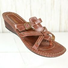Hush Puppies Brown Leather Wedge Sandals Size 9 W Wide Womens HPO2 Flex euc