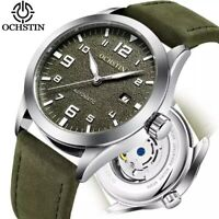 Montre Automatique Mécanique Homme Militaire Bracelet Cuir Date Vintage Neuf FR