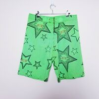 Fox Mens Size W34 Bright Fluro Green Swim Trunks Surf Board Shorts Boardies