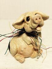 "Vintage Pete Apsit Pig Figurine Black-And-White Spotted ""Percy"" 1992 Kj062916"
