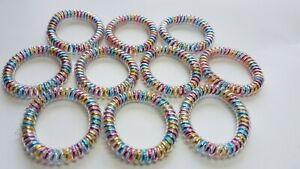Spiral Stretchy Hair Bobbles Multicolour Rainbow Ponytails 10pk x 4cm. UK Seller
