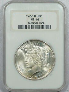 1927-D PEACE DOLLAR - NGC MS-62 OLD FATTY, PREMIUM QUALITY!