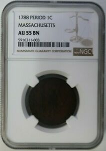 1788 Period 1 CENT, Massachusetts, Colonial Copper Coin, NGC AU 55 BN Graded