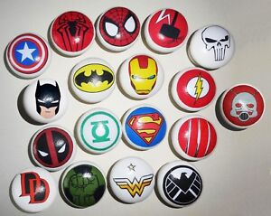 SUPER HERO MARVEL Hand Crafted Decoupage Wood Knob Only £4.50 each! UK Seller
