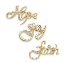 Faith Hope Joy Pin Set #C232 Charter Club Christmas Jewelry - Gold-Tone Jeweled