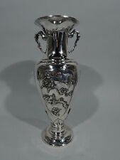 Export Vase - Antique Asian China Trade Baluster Bamboo Birds - Chinese Silver