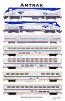 """Amtrak Superliner 11""""x17"""" Poster Andy Fletcher signed"""