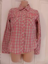 Lovely beige fairly thick cotton shirt O'Neill size S, pinky red check pattern