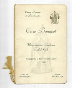 WOLVERHAMPTON WANDERERS FC - 1958 League Champions Civic Banquet Menu