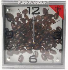 52540 Mebus Küchen Funk Wanduhr Kaffebohnen Motiv Glas Uhrzeit Zimmeruhr