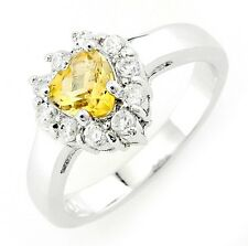 Sterling Silver Heart Citrine Ring with Cubic Zirconia Size 5