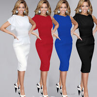Sexy Women Bodycon Party Evening Cocktail Ruffle Midi Pencil Dress Frill Skirt