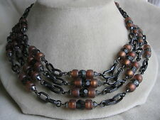 ERICKSON BEAMON Bronzetone Brown Rust Grey Crystal Bib Necklace -- Signed