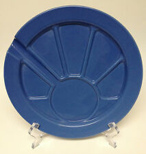 """Hoffritz Blue Fondue Party Dessert Plate Sectioned Divided 9 1/2"""""""