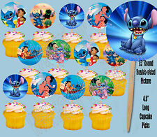 LILO AND STITCH Disney Movie Double-Sided Cupcake Picks Cake Toppers -12 pcs