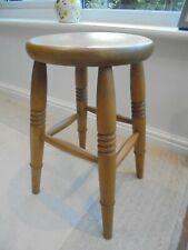 Vintage Victorian style kitchen stool, 4 turned legs, cross braced