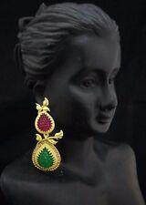 Bollywood Fashion 18K  CZ Ruby Emerald Jewelry Indian Dangle Earrings 2pc Set